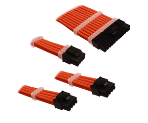 DSC-PCE30CMORN - DUTZO Sleeved Power Extension Cable Kit - Orange