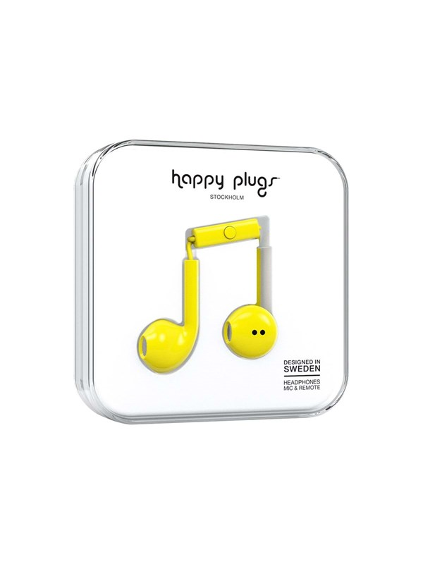 Happy Plugs Earbud Plus - øreproptelefoner med mik. - Yellow