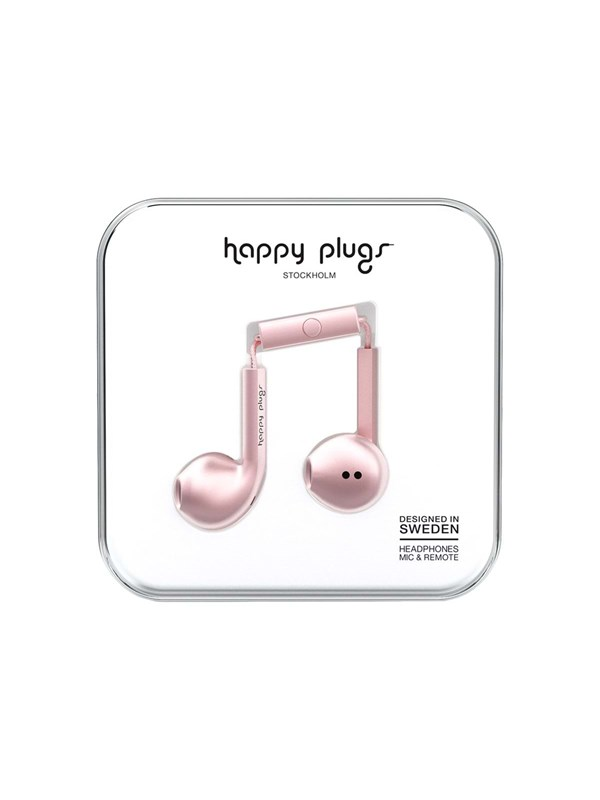 Happy Plugs Earbud Plus - øreproptelefoner med mik. - Rosa